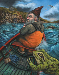 'Gnome' image of original painting by Richard Woods who has an online portfolio with art-spaces.com