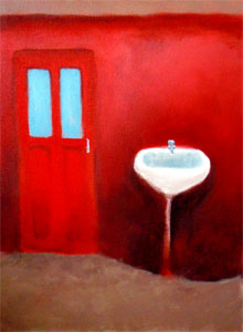 'Red' image of original painting by Beth Richardson who has an online portfolio with art-spaces.com